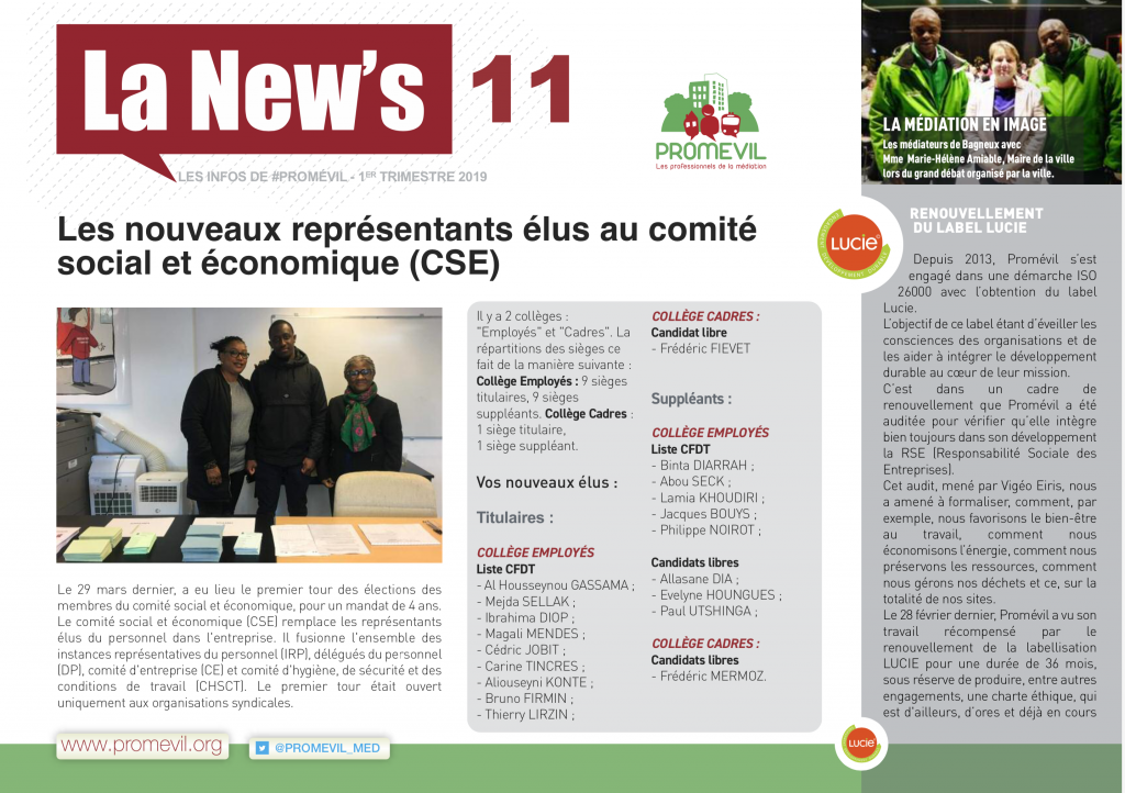Newsletter Promévil N°11 - 1er trimestre 2019