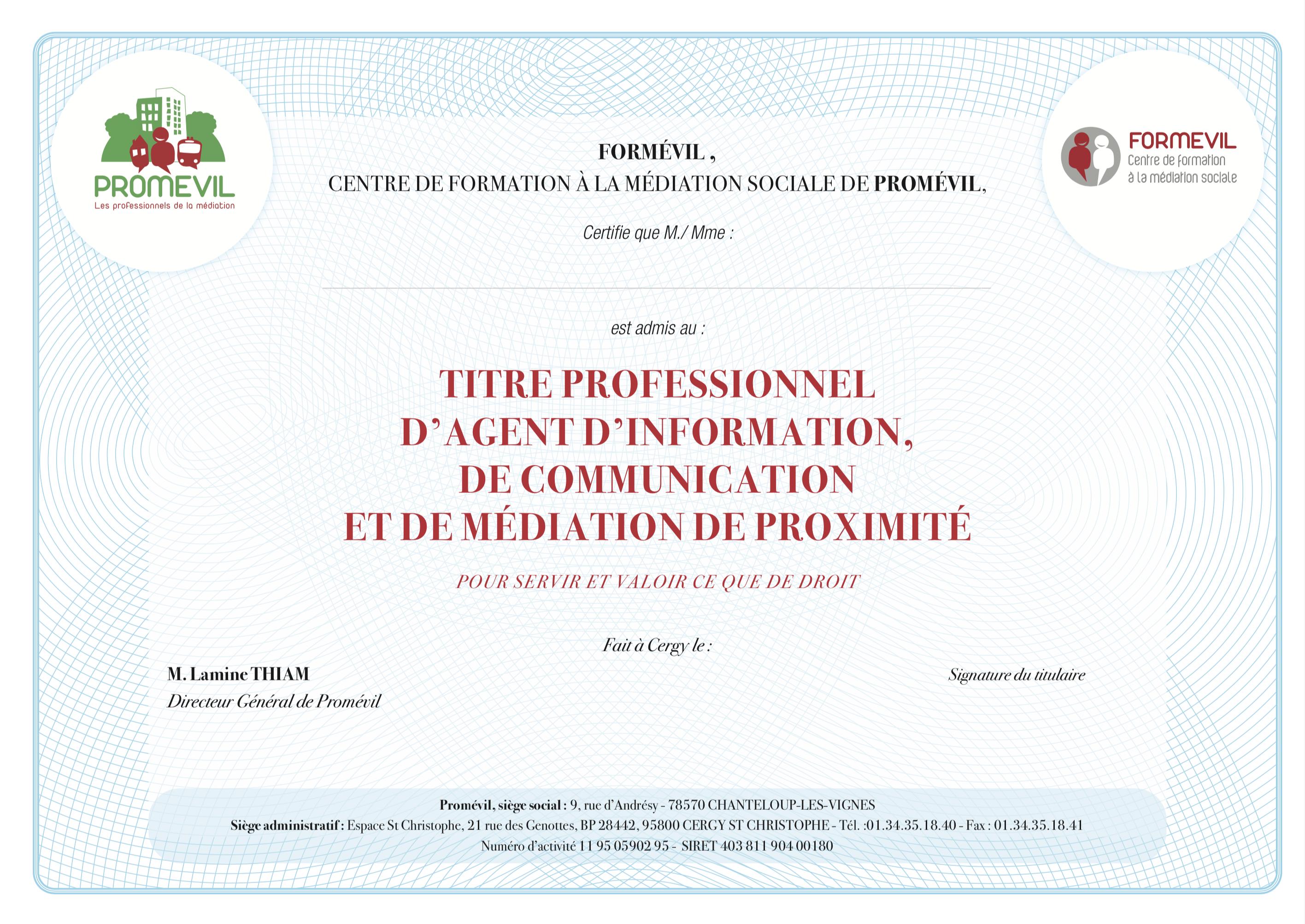 Titre professionnel AIMCP - Agent d'information, de communication et de médiation de proximité