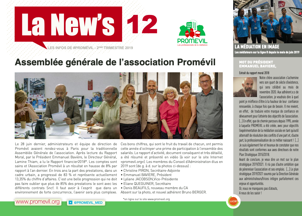 Newsletter Promévil N°12 - 2ème trimestre 2019
