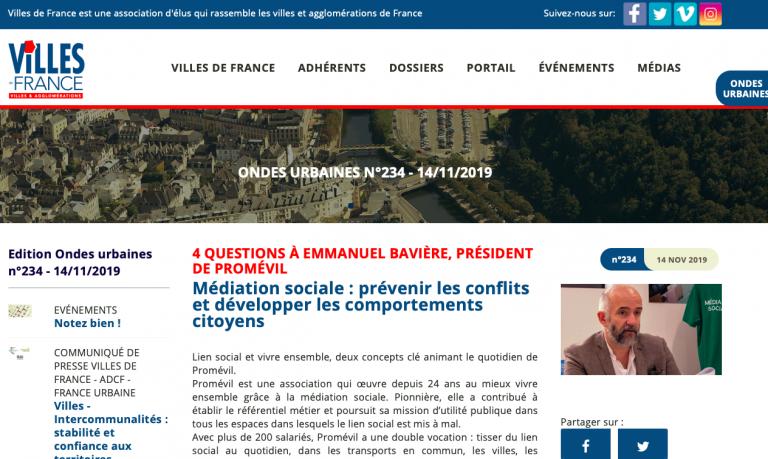Villes de France présente Promévil dans sa lettre Ondes Urbaines de Novembre 2019
