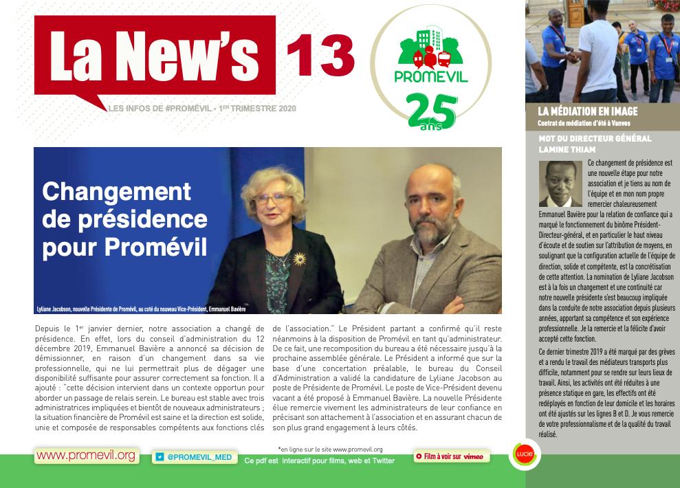 Newsletter n°13 : changement de présidence pour Promévil