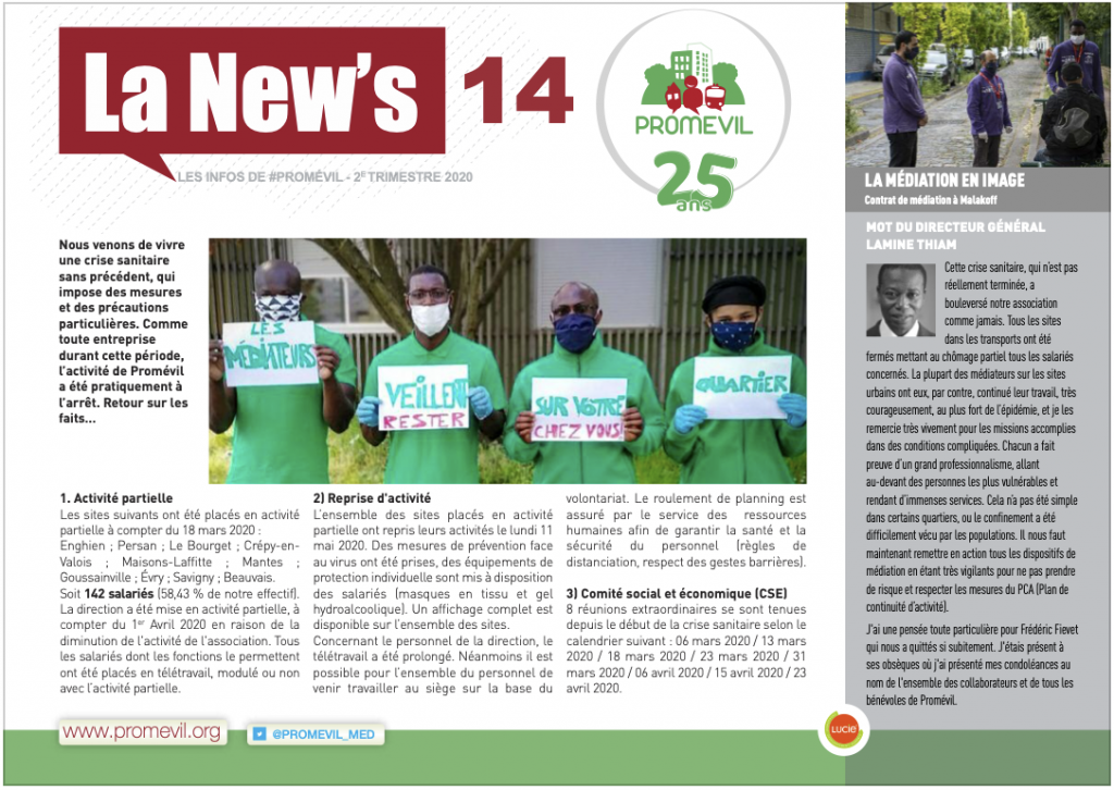 Newsletter Promévil n°14 - 2ème trimestre 2020